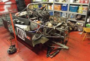 Rear suspension removed